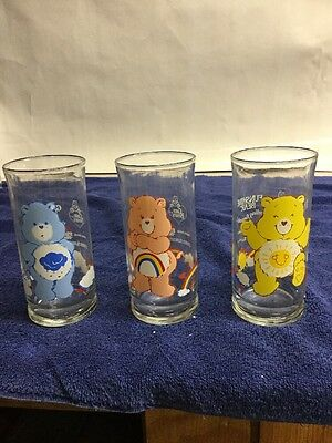 Set Of 3 Care Bears Glass From Pizza Hut