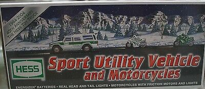 2004 HESS SPORT UTILITY VEHICLE and MOTORCYCLES 40TH ANNIVERSARY NEW IN BOX