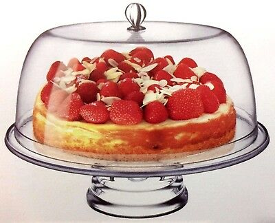 Clear Acrylic Cake Display Stand Container Dome Holder With Cover 33.5 x 26cm