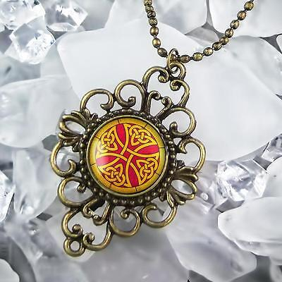 """Celtic Knot Stained Glass Irish Cross Antique Bronze Filigree Necklace 24"""" Chain"""