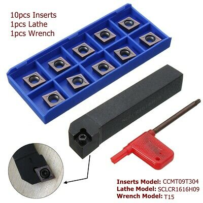 10pcs CCMT09T304 Carbide Inserts SCLCR1616H09 Lathe Turning Tool Cutter Holder
