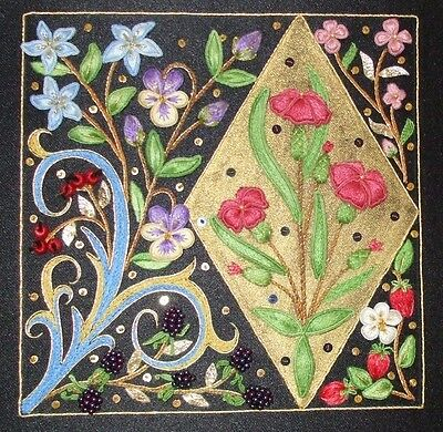 Illuminated Floral Stumpwork Goldwork Embroidery Kit by Alison Cole Embroidery