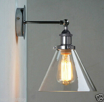 Chrome Industrial Antique Vintage Retro Wall Light Lamp Shade Sconce Fitting