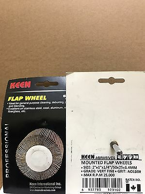 "Retail Pack of 2, #23102, VF 180 grit, KEEN 2"" x 1"" x 1/4"" Mounted Flap Wheel"