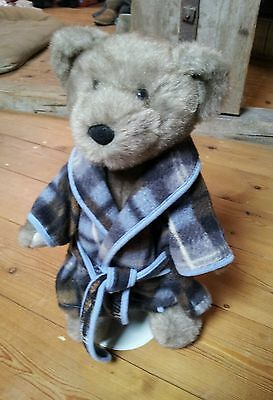 "Chad Valley Bear. With Dressing Gown And Stand. 15"" Tall."