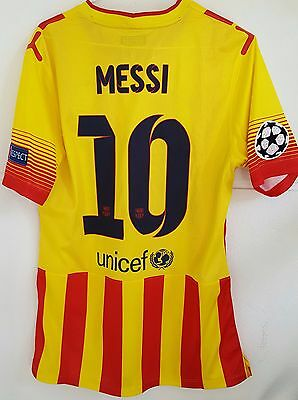 Messi Fc Barcelona match worn shirt 2013-2014 Champions League Away