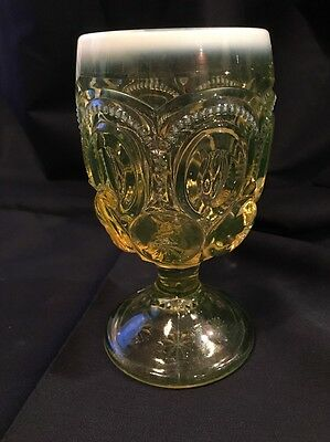 Vintage Art Glass Moon and Stars Vaseline Yellow Goblet Opalescent PERFECT! FS!