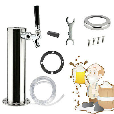 1 Tap Faucet Stainless Steel Draft Beer Tower Homebrew Kegerator Chrome Faucets
