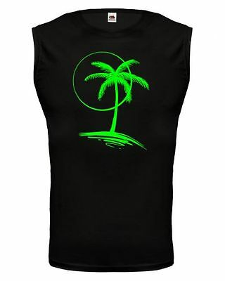 Unisex Muskelshirt ärmellos Tank Top Vacation Time V2 Palmeninsel Palme Insel
