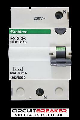 CRABTREE 63 AMP 30 mA DOUBLE POLE RCCB RCD STARBREAKER SPLIT LOAD 363/S030