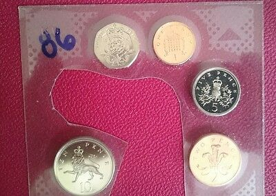 1986 brilliant uncirculated 5 coin set including rare 20p.