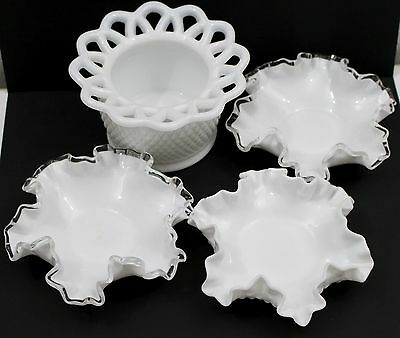 Lot of 4 Vintage Imperial Genuine White Ruffled Edge Hobnail Milk Glass Bowls
