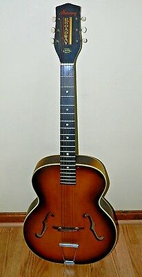 Vintage 60's Harmony Broadway Acoustic Arch Top Guitar With Case Nice Condition
