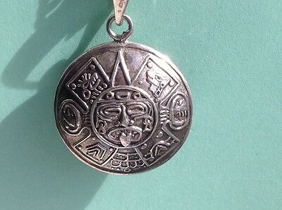 Silver Aztec / Mayan Pendant - Marked 925  & Silver Chain - Festival - Ethnic