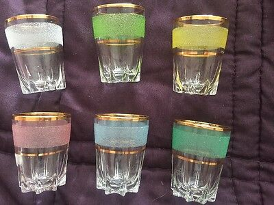 6 x Vintage 50s Frosted Gold Band Shot Glasses Small Pastel Shades
