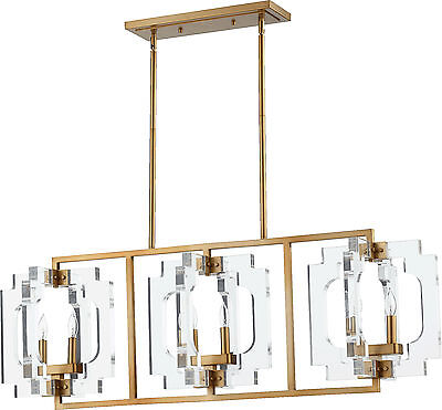 "Aged Brass Broadway 6-Light 46"" Long Island Pendant W/Clear Acrylic Shade"