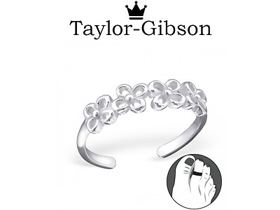 925 sterling silver Flowers toe ring adjustable UK Seller Holiday beach