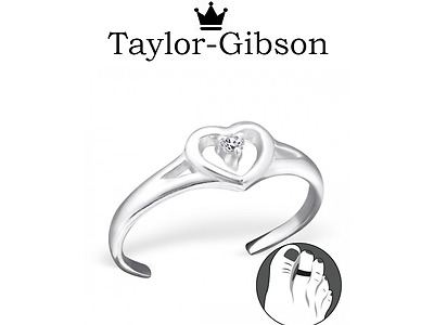 925 sterling silver Heart CZ toe ring adjustable UK Seller Holiday beach