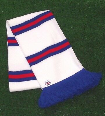 Rangers Colours White Retro Bar Scarf - White,Royal & Red - Made in UK