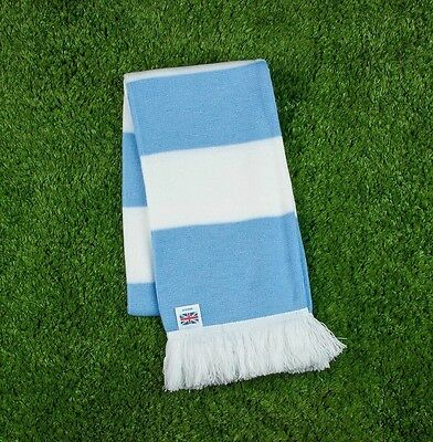 Manchester City Colours Retro Bar Scarf - Blue & White - Made in UK