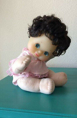 Vintage 1985 Vinyl My Child Girl Doll w Black Hair Aqua Eyes Pink 2 Piece Outfit