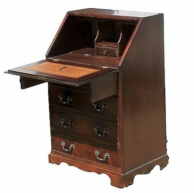 Reproduction Antique Small Drop Flap Mahogany Bureau with Leather Writing Pad