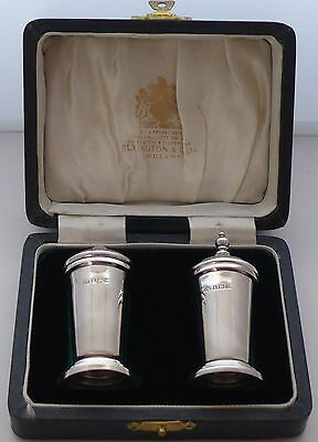 Boxed Elkington 1962 Hallmarked Solid Silver Cruet Salt and Pepper Shaker Pot