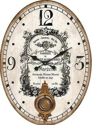 Shabby Vintage Chic French Wooden Oval Pendulum Wall Clock