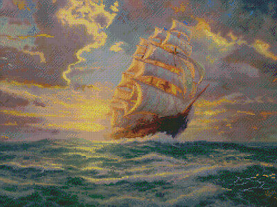 "Thomas Kinkade Courageous Voyage Counted Cross Stitch Kit 16""X12"" 16 Count 51646"