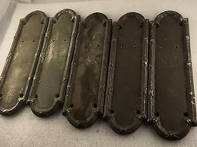 Lot of 5) cast aluminum Hollywood prop door Handle Backing Plates.      3-388