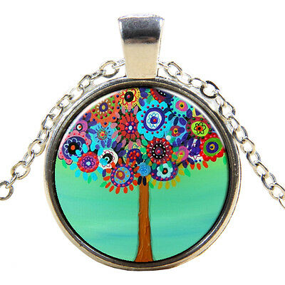 Retro Flowers Tree Of Life Pendant Chain Necklace Silver  S9M3 T0K8 O1L7 V8 C6D5