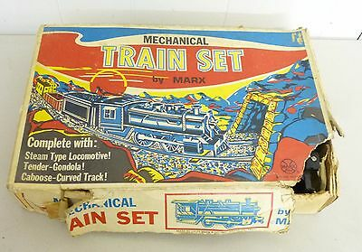 Vintage Marx mechanical tin wind up toy train set 526 Made in USA in box