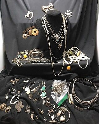 Vintg STERLING SILVER Jewelry Lot Necklaces Bracelets Rings Turquoise scrap 782g