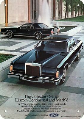 1979 LINCOLN CONTINENTAL & MARK V Luxury Car Replica Metal Sign COLLECTOR SERIES