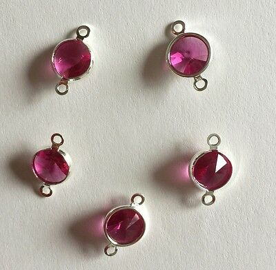 Swarovski 8mm Fuchsia Double Loop Chanel Sterling Plated  26 Pieces