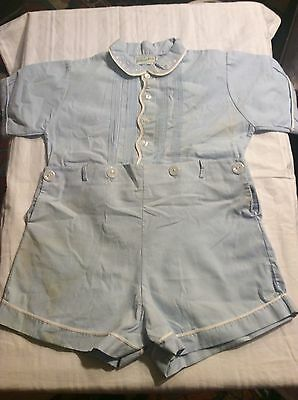 Vintage Feltman Bros. Boys Blue Toddler Outfit,hand Embroidered