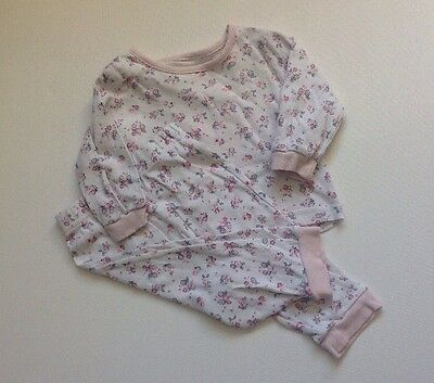 Baby Girls 3-6 Months George White + Pink Floral Pyjama Set Top And Bottoms