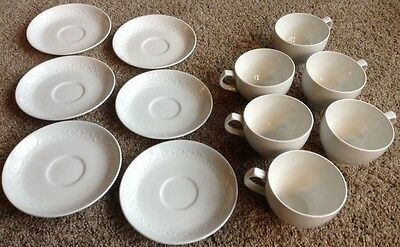 Set of 6 Tea Cups + 8 Saucers Alfred Meakin White Ironstone Diamonds MEA412 EUC