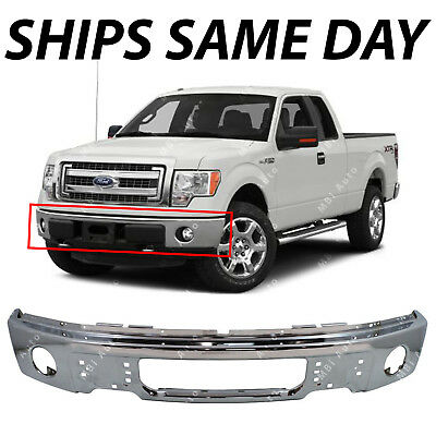 NEW Chrome - Steel Front Bumper Face Bar for 2009-2014 Ford F150 Pickup W/ Fog