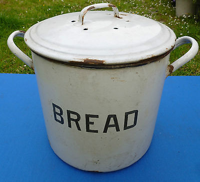 Vintage Enamelled Bread Tin (Lid Bin)