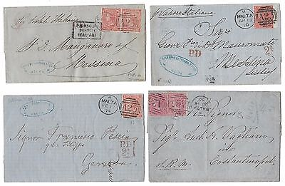 Lot Of 4 Covers Gb Used Abroad In Malta A25 Good Cancellations See 10 Scans 01