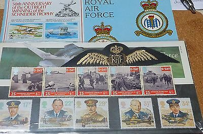 Commemorative stamps Royal Air Force, D-Day plus Swinderby booklet and badge
