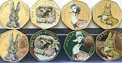 Beatrix Potter 50p coin stickers professionally made. high quality and colour x8