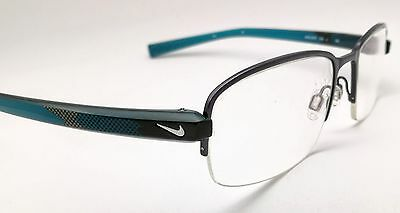 NIKE Half Rim Blue Rectangular Used Glasses Eyeglasses Frame