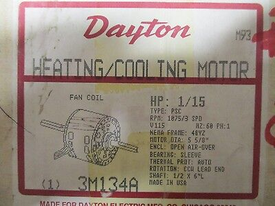 Dayton 3M134A, 1/15 Hp 1075 Rpm 3 Speed 115 Volt Heating Cooling Motor- New
