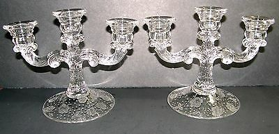 Cambridge #1307 3-light Candle Holders with  #760 Rose Chintz etch (pair)