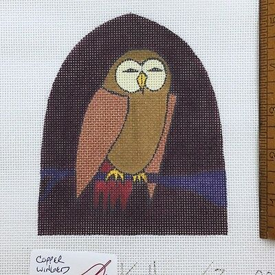 Zecca Handpainted Needlepoint canvas Copper Winged Owl Bird egg cozy stand up