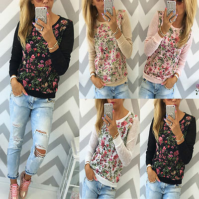 Womens Floral Casual Long Sleeve Tops Shirt Ladies Loose T-shirt Blouse