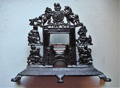 19th Century Miniature Cast Iron Fireplace with Brass Fire Bars & Trivet