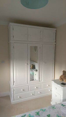 Hand Made Buckingham Pine Triple In White Shabby Chic Ready Assembled